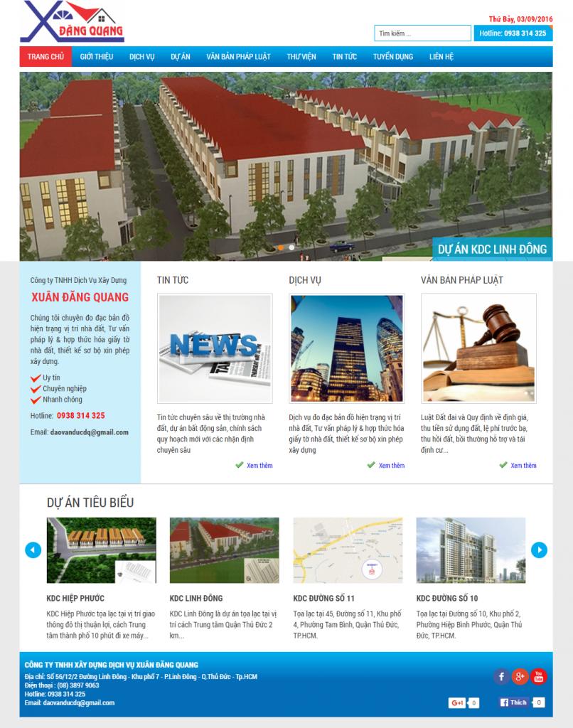 Thiết kế website Công Ty TNHH Dịch Vụ Xây Dựng Đăng Quang