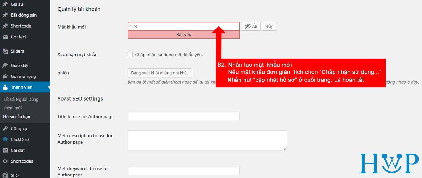 Hướng dẫn thay đổi mật khẩu website với admin là tiếng Việt 2