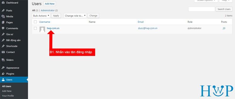Hướng dẫn thay đổi mật khẩu website với admin là tiếng Anh 1