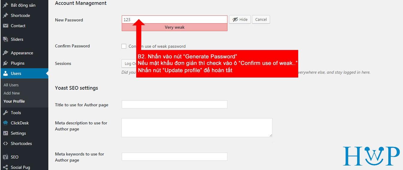Hướng dẫn thay đổi mật khẩu website với admin là tiếng Anh 2