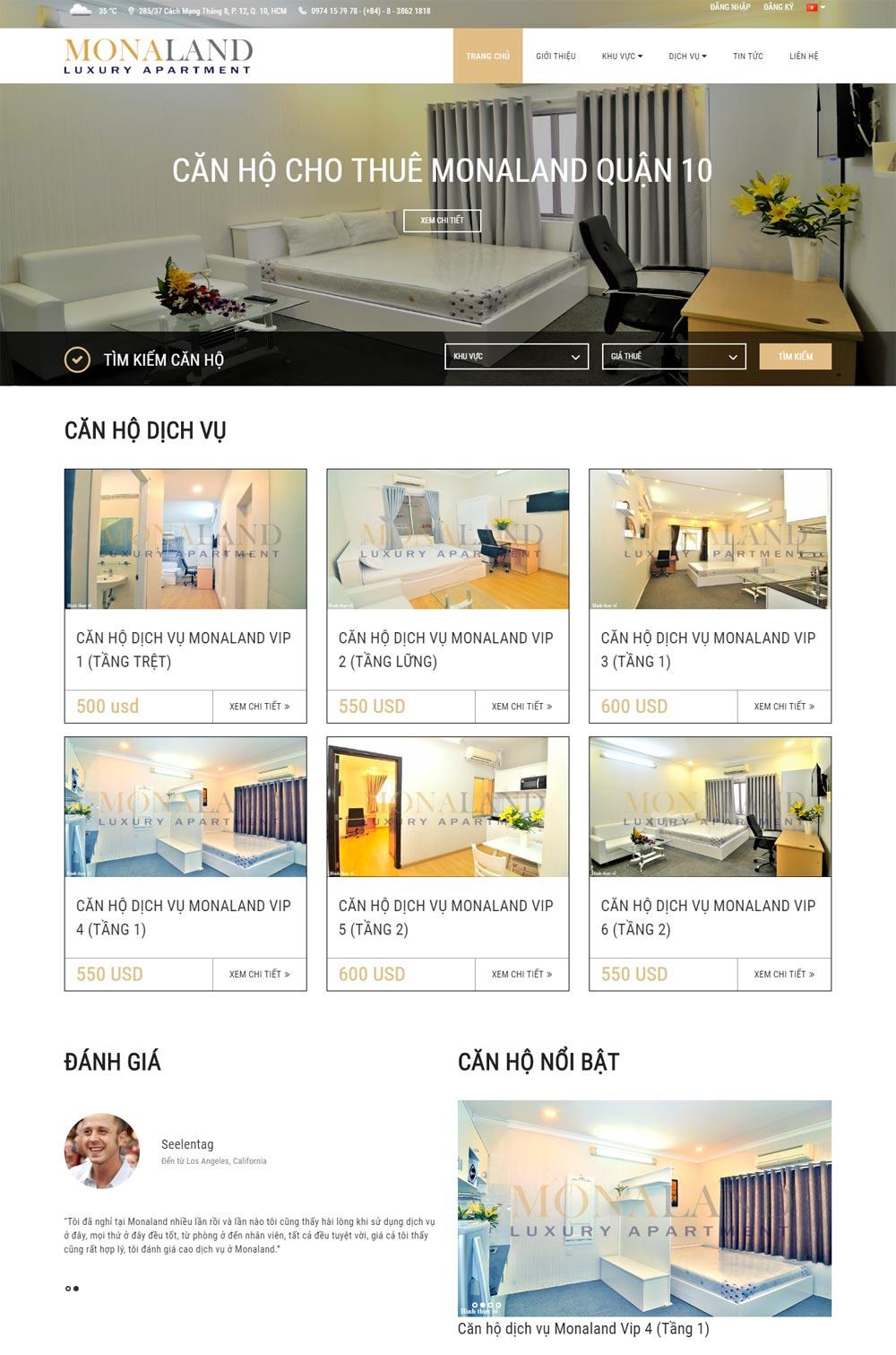 Thiết kế website công ty cổ phần địa ốc MONALAND