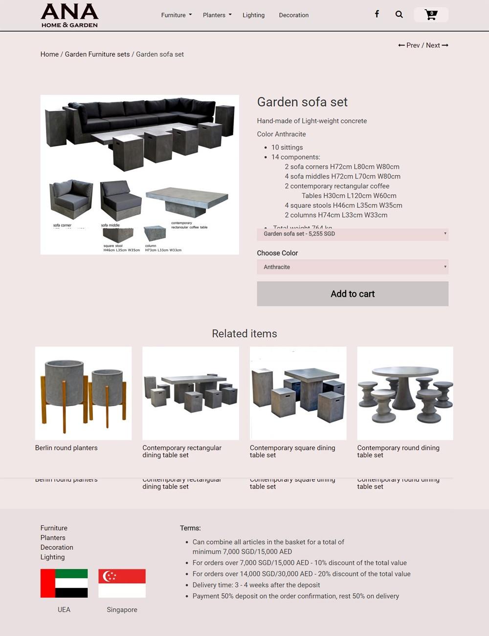 Thiết kế website bán hàng United Potteries Sài Gòn