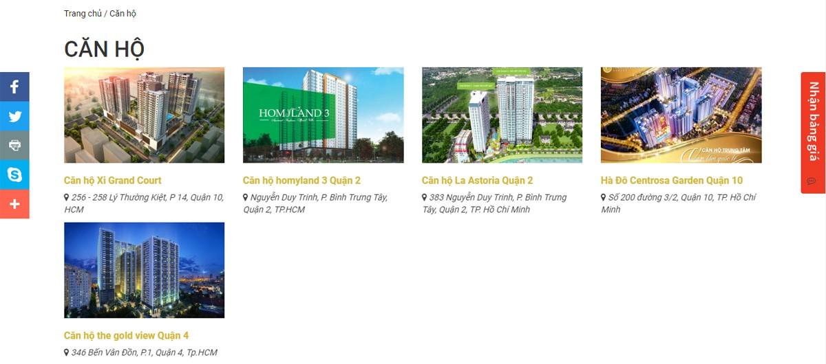 Thiết kế website bất động sản Thần Tài Địa Ốc