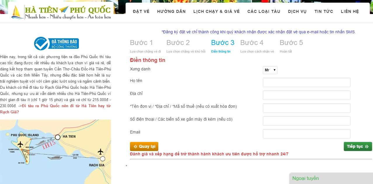 Thiết kế website đặt vế tàu Hà Tiên - Phú Quốc