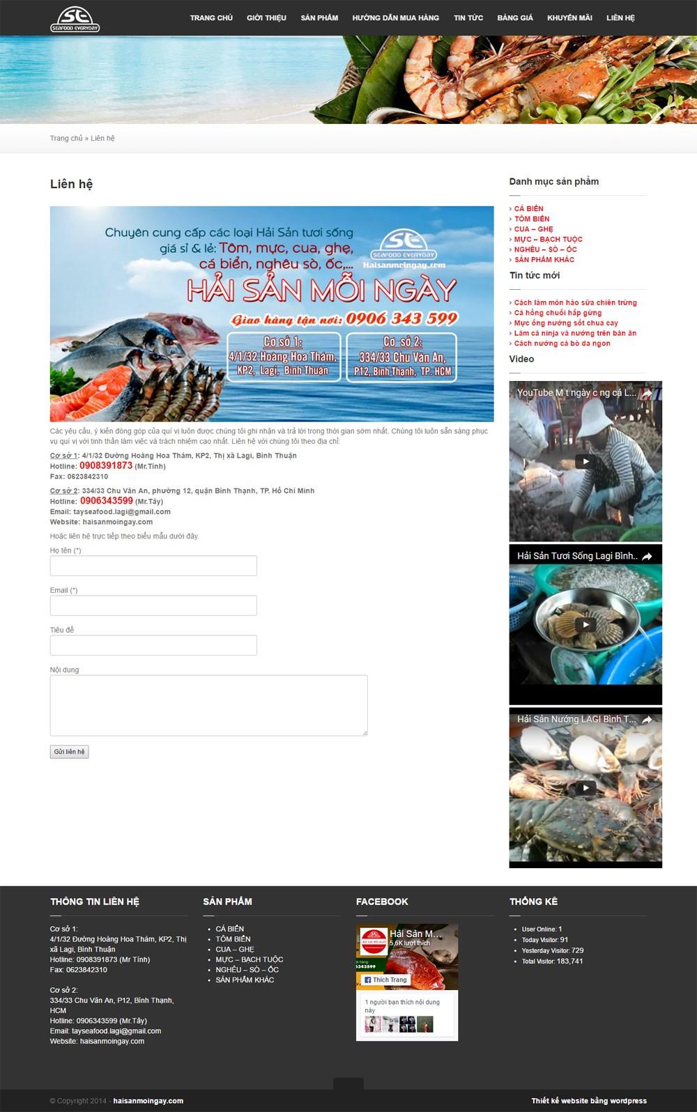 Thiết kế website Hải Sản Mỗi Ngày