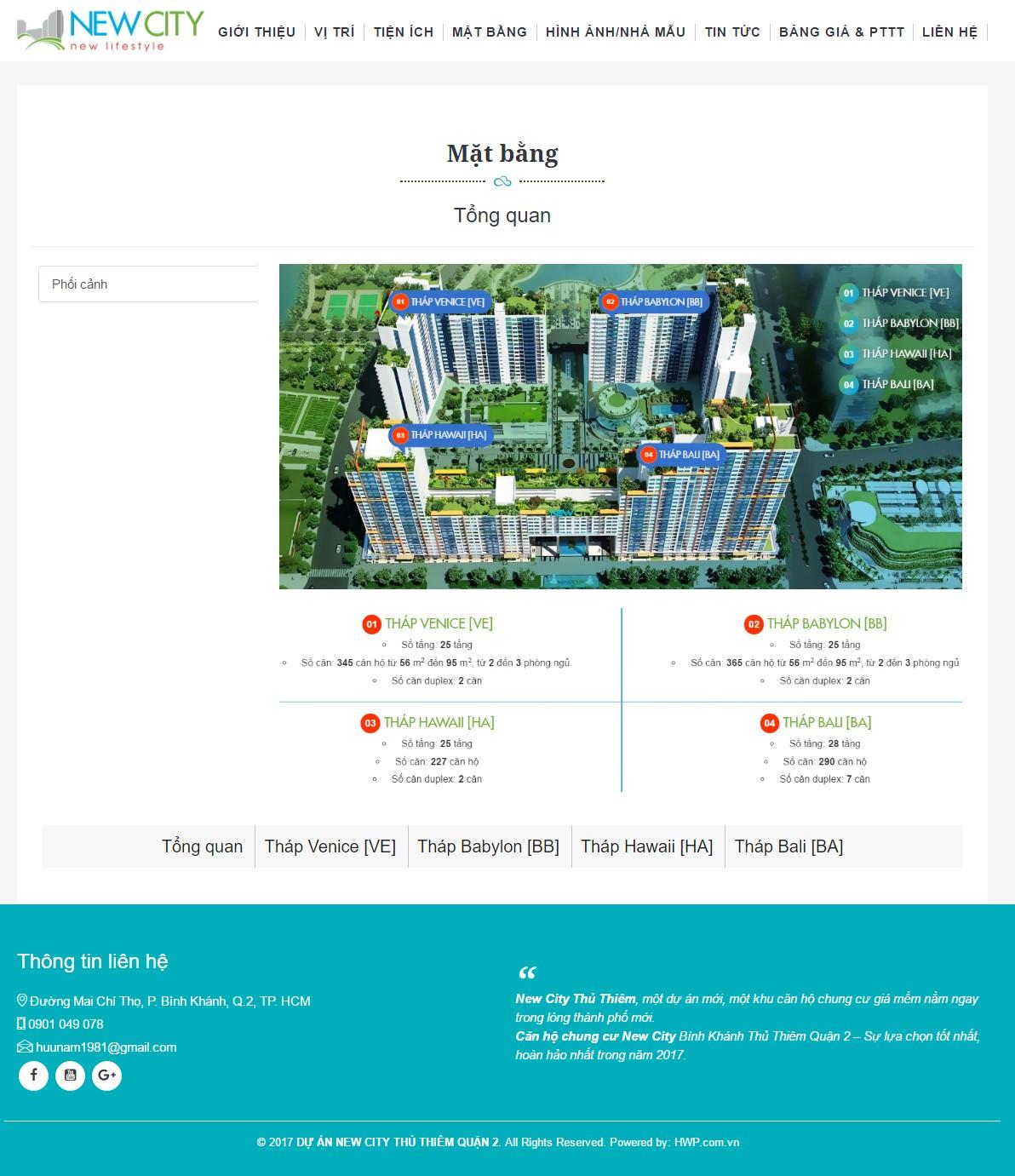 Thiết kế web bất động sản 1 dự án NEW CITY THỦ THIÊM
