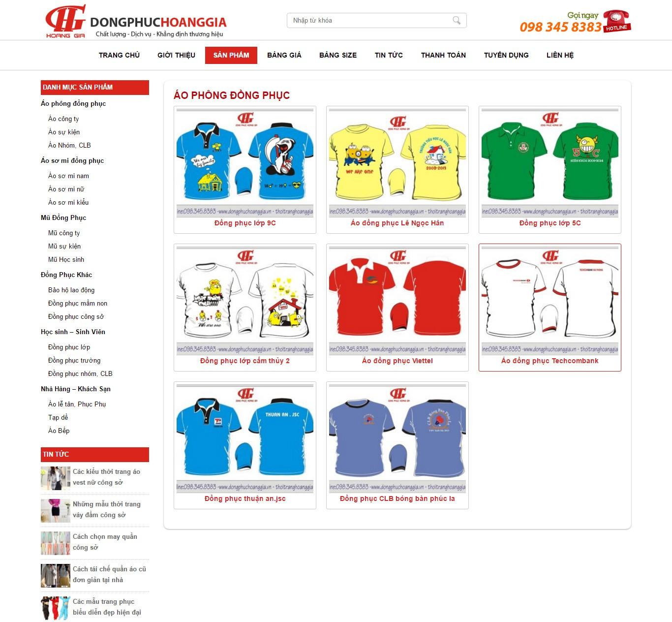 Thiết kế website công ty giới thiệu sản phẩm