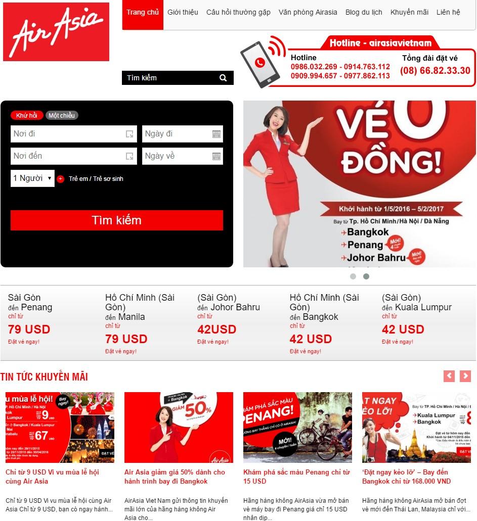Thiết kế website tin tức vé máy bay AIR ASIA