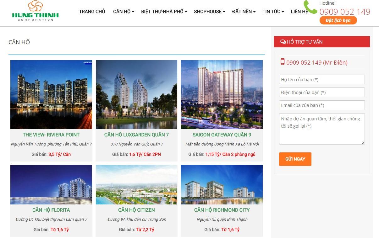 Thiết kế website bất động sản hungthinhnews.com