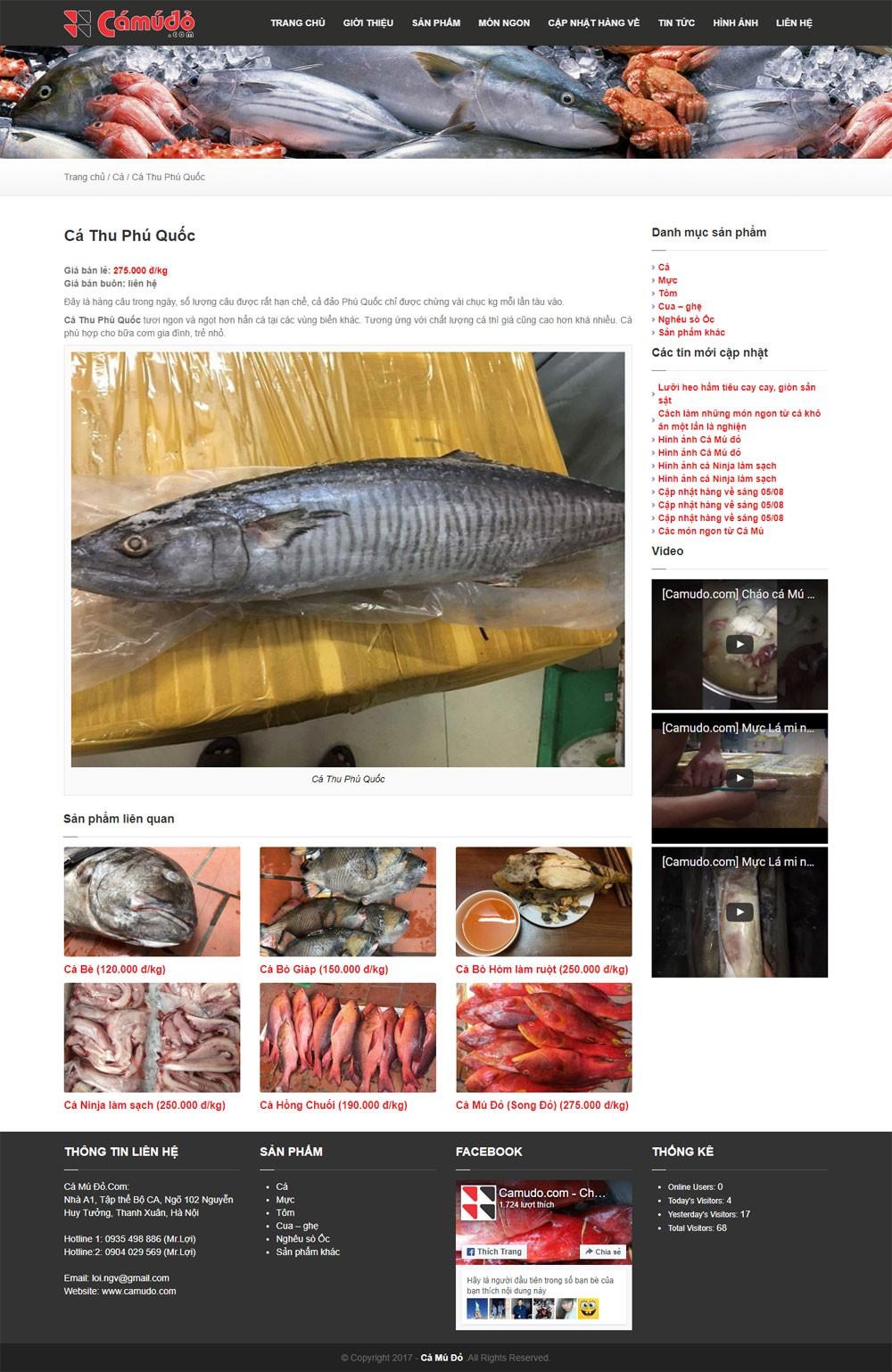 Thiết kế website hải sản Cá Mú Đỏ