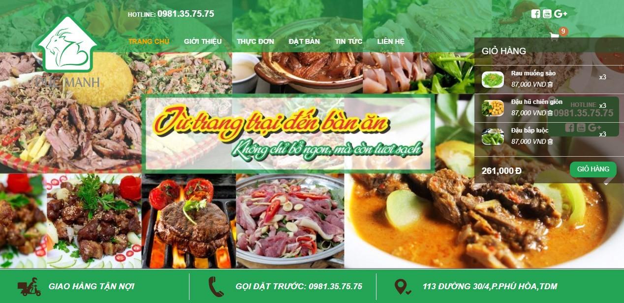 Thiết kế website nhà hàng HWP