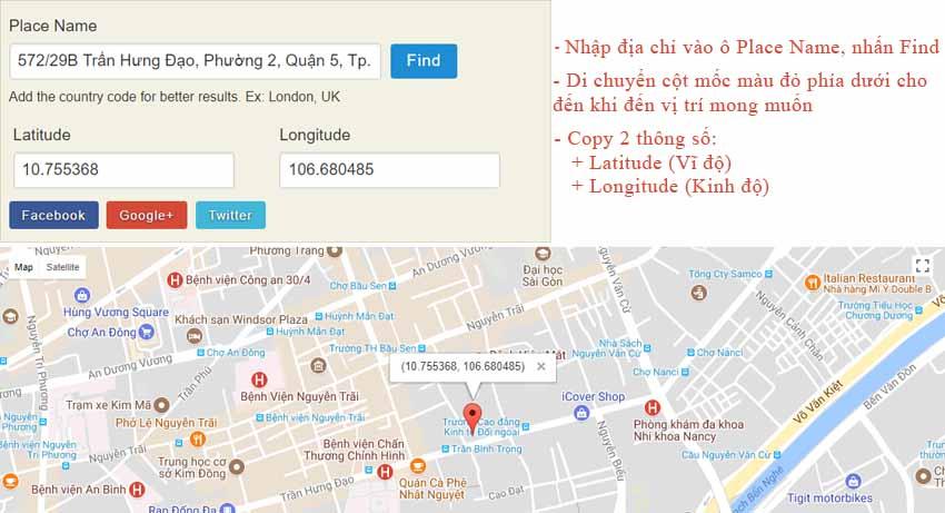 Lấy tọa độ địa chỉ trên Google Map