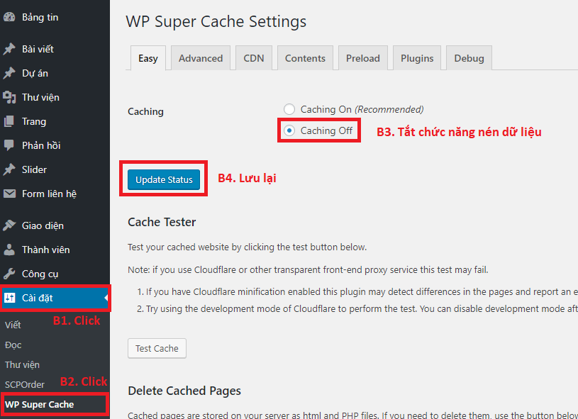 WP Super Cache Disable