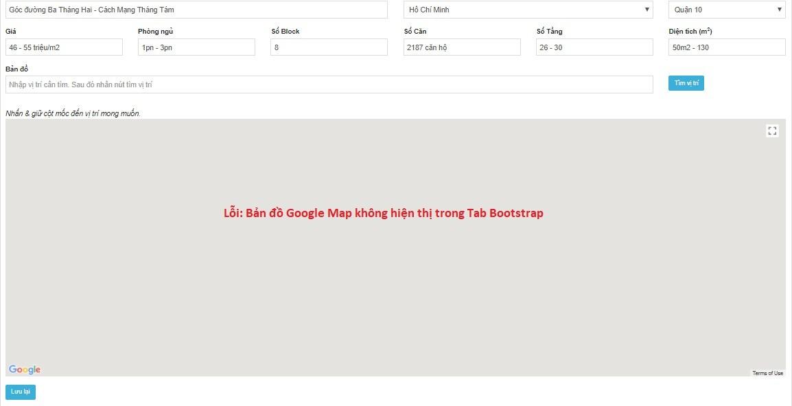 Xử lý hiện thị Google Map trong Bootstrap tab