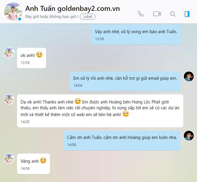 Đánh giá của anh Tuấn chủ nhân website: goldenbay2.com.vn