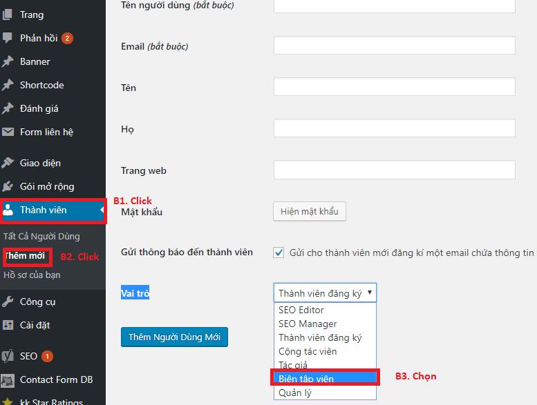 Phân quyền User thành viên trong WordPress