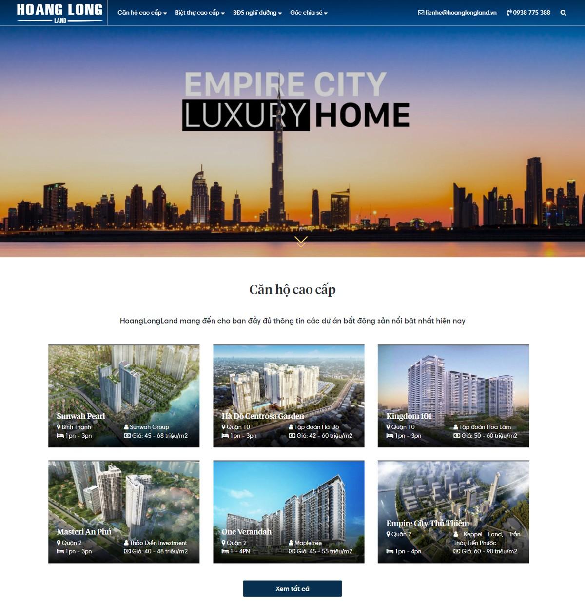Thiết kế website BĐS cao cấp tại HWP.com.vn