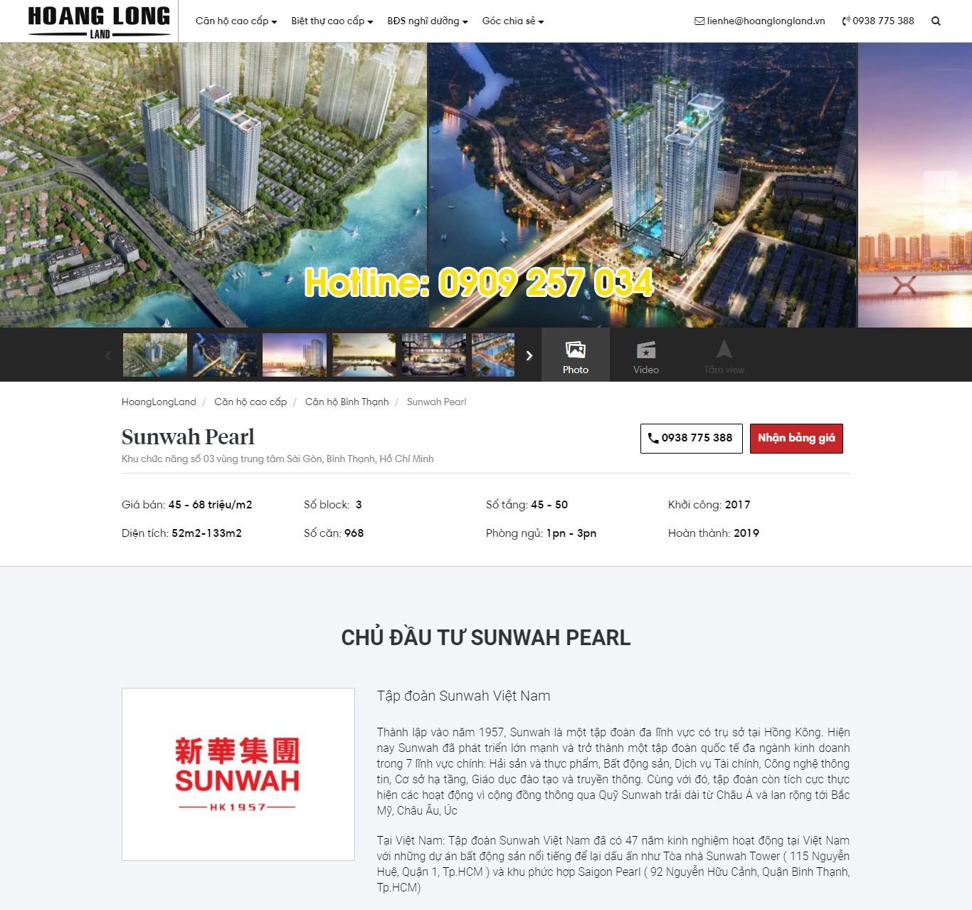 Website bất động sản đẹp: Chi tiết 1 dự án bất động sản