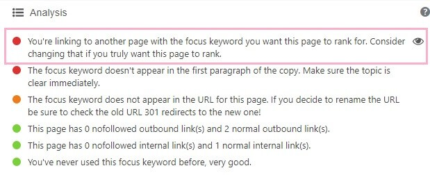 You're linking to another page with the focus keyword