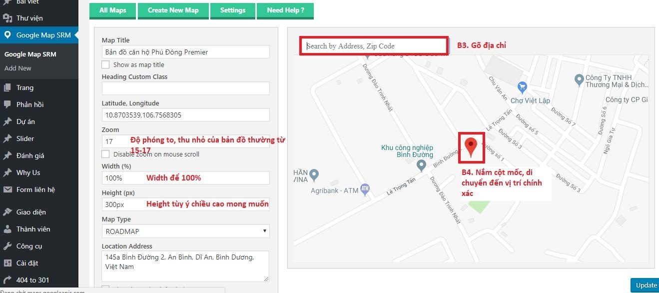 chen ban do google map vao website