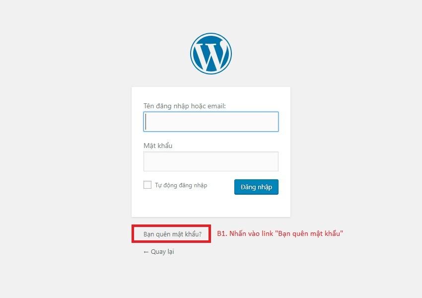 quên mật khẩu admin website wordpress