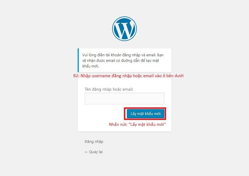Cách lấy lại mật khẩu admin website wordpress