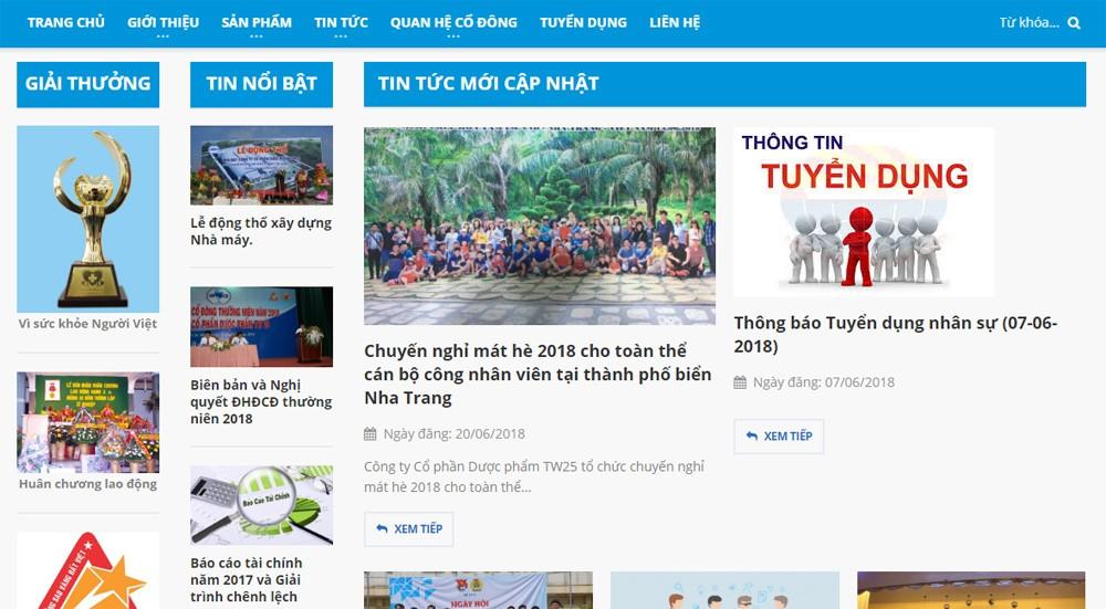 Thiết kế website công ty CP DƯỢC PHẨM TW25