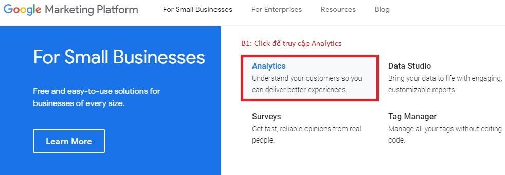 Đăng ký Google Analytics
