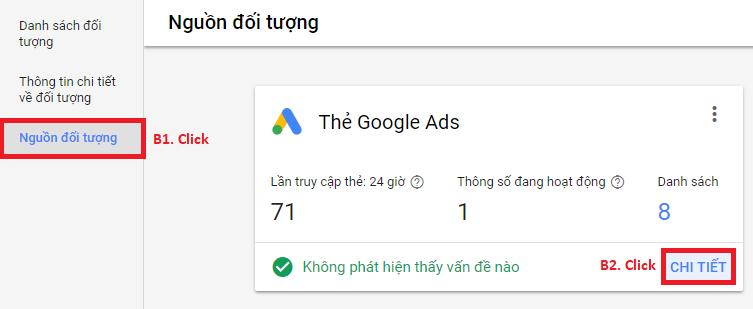 Lấy code Google Remarketing Ads - Nguồn đối tượng