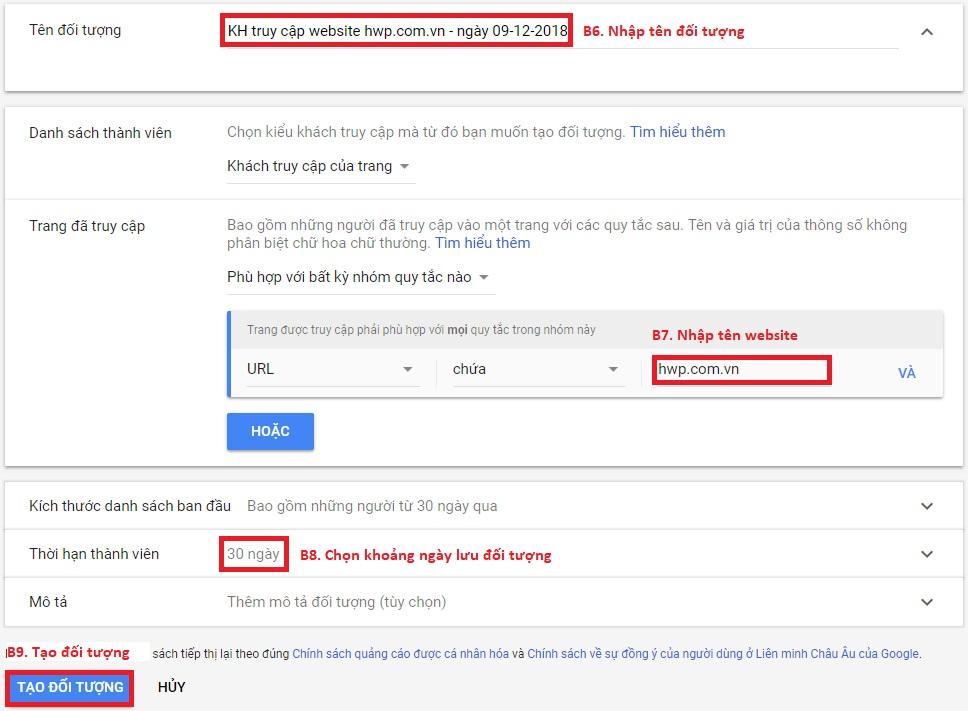 Tạo đối tượng trong Google Remarketing