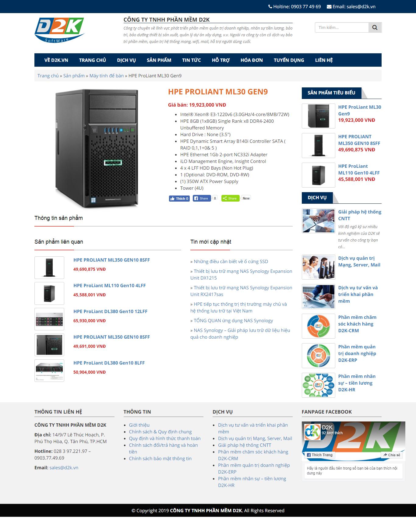 Trang chi tiết sản phẩm trong website