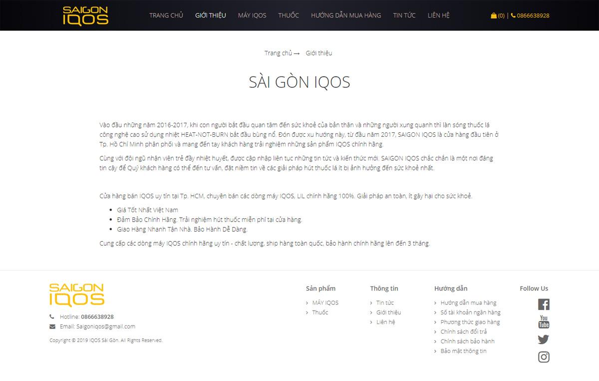 Thiết kế web bán hàng saigoniqos.com