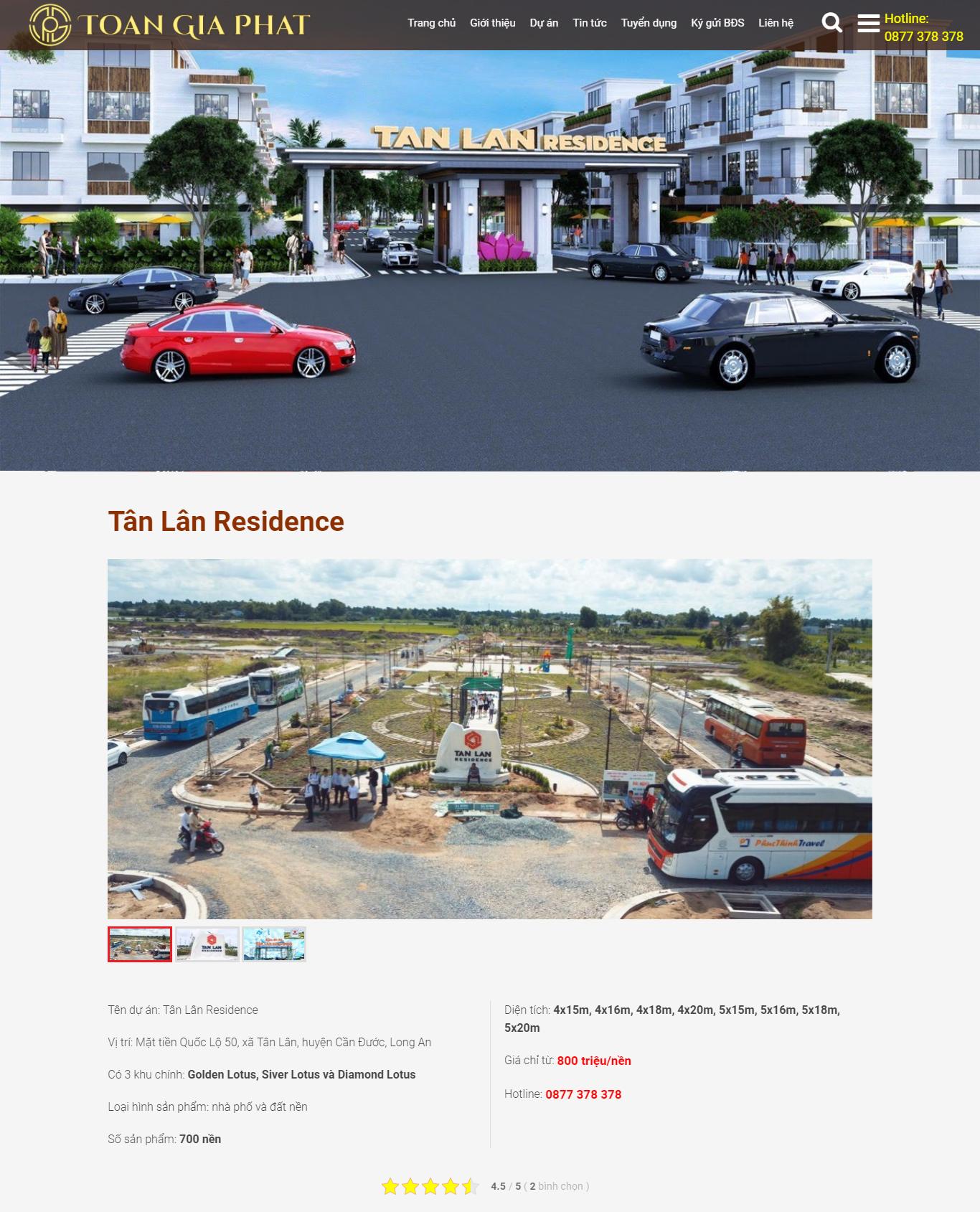 Chi tiết dự án website công ty bất động sản bdstoangiaphat.com