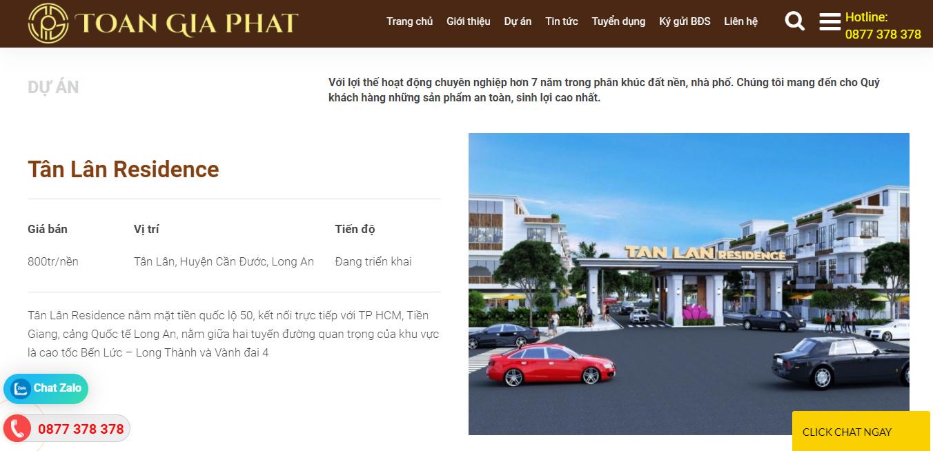 Trang dự án công ty bất động sản bdstoangiaphat.com