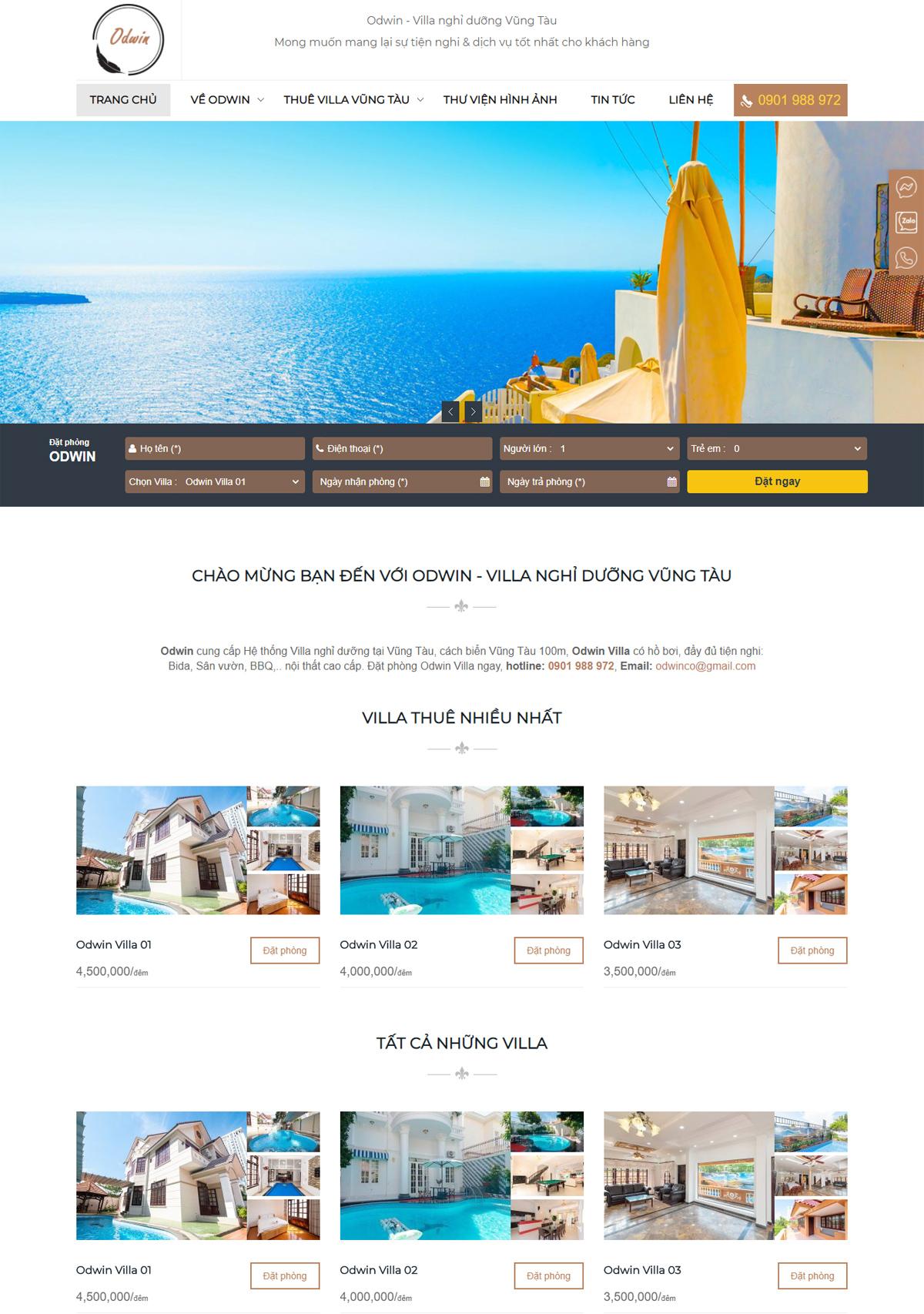 Thiết kế website cho thuê villa odwin.vn