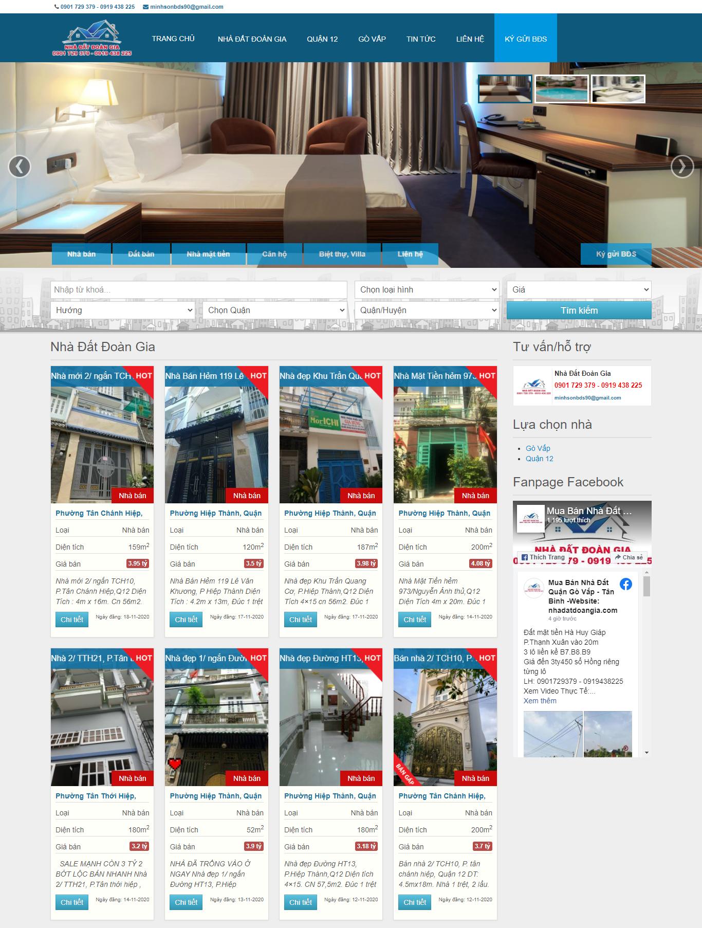 Thiết kế website bất động sản nhadatdoangia.com
