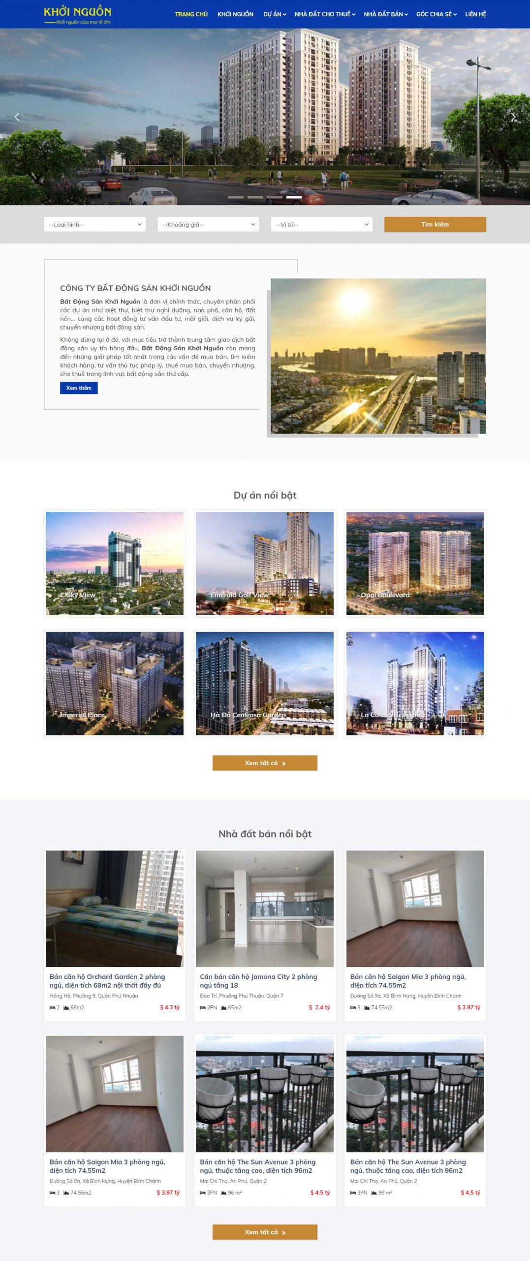 Thiết kế website công ty BĐS
