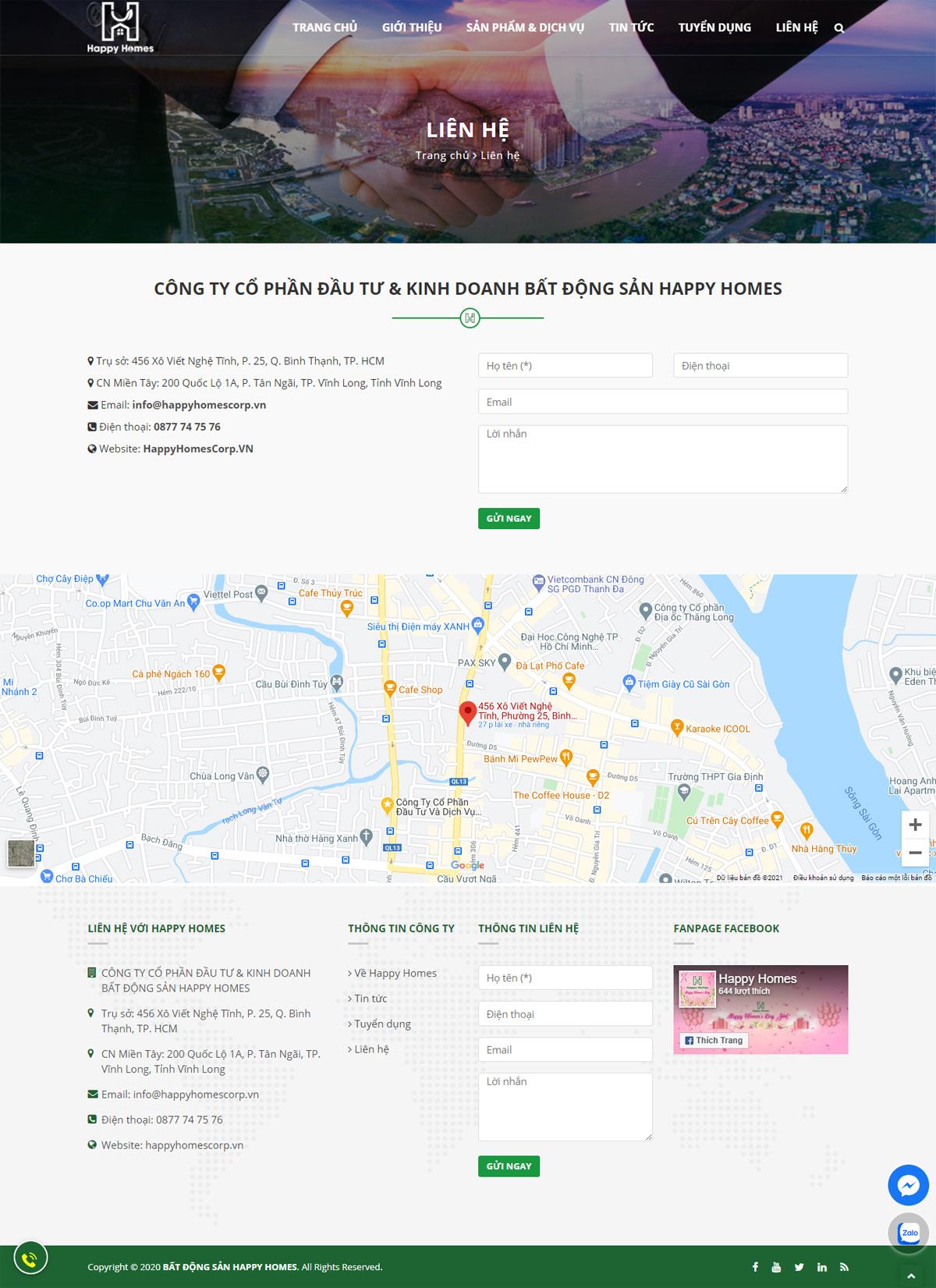 Thiết kế website công ty bất động sản Happy Homes Corp
